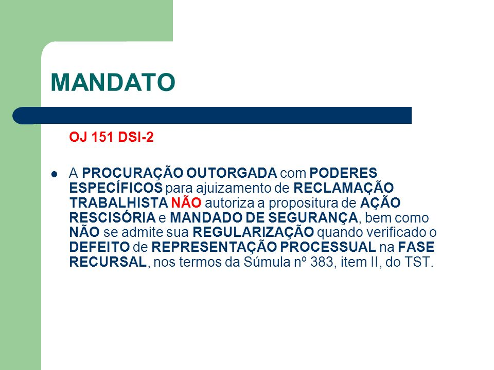MANDATO OJ 151 DSI-2.