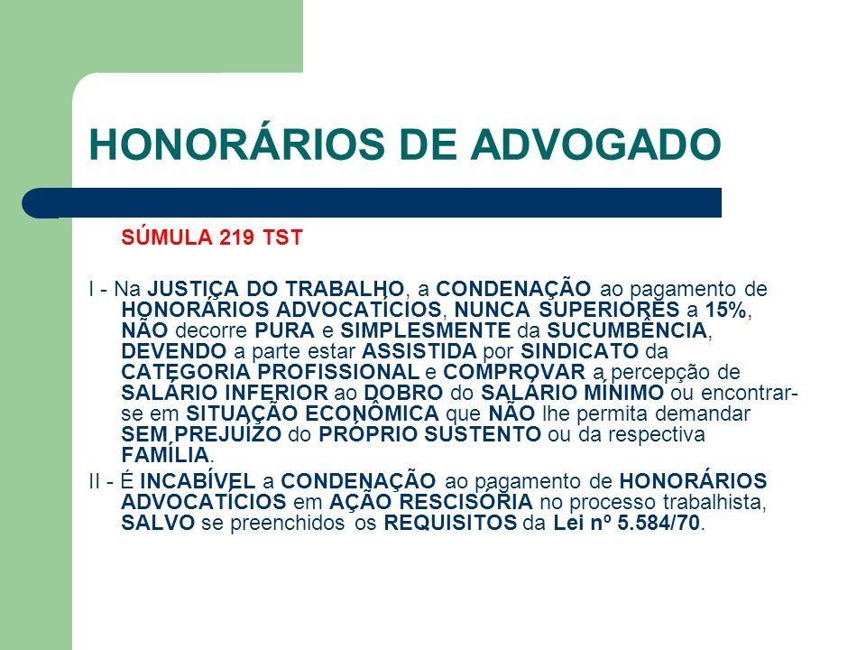 HONORÁRIOS DE ADVOGADO