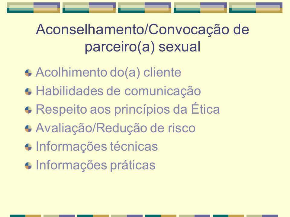 Aconselhamento/Convocação de parceiro(a) sexual