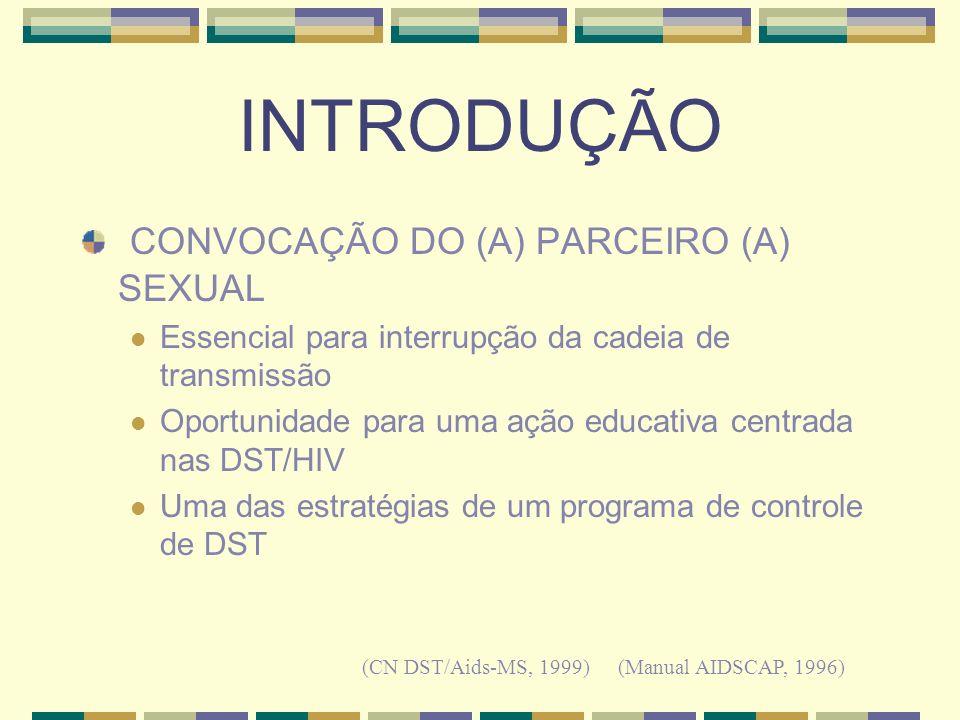 INTRODUÇÃO CONVOCAÇÃO DO (A) PARCEIRO (A) SEXUAL