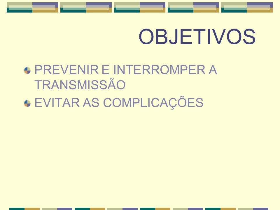 OBJETIVOS PREVENIR E INTERROMPER A TRANSMISSÃO EVITAR AS COMPLICAÇÕES