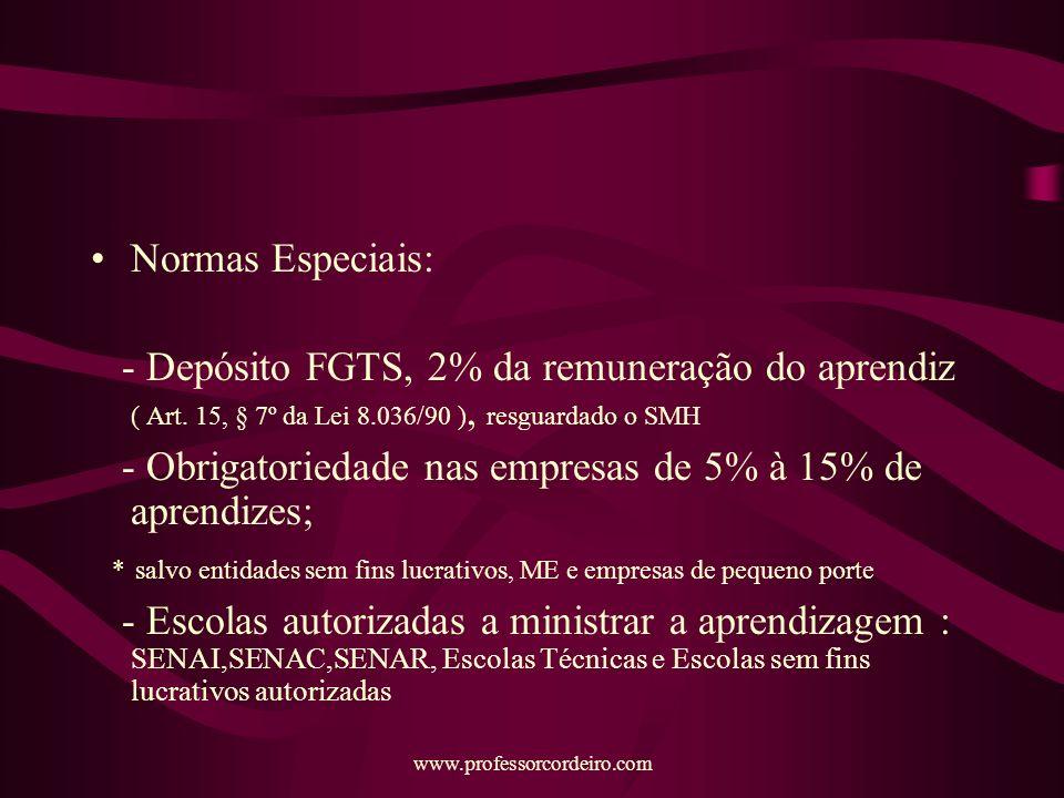 - Obrigatoriedade nas empresas de 5% à 15% de aprendizes;