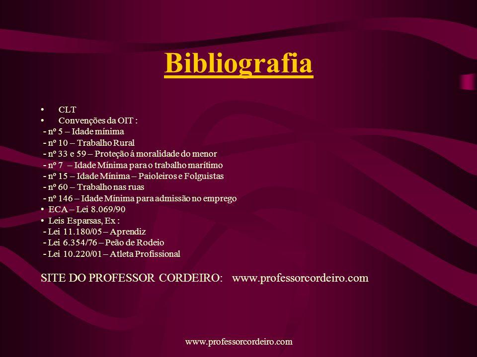 Bibliografia SITE DO PROFESSOR CORDEIRO: www.professorcordeiro.com CLT