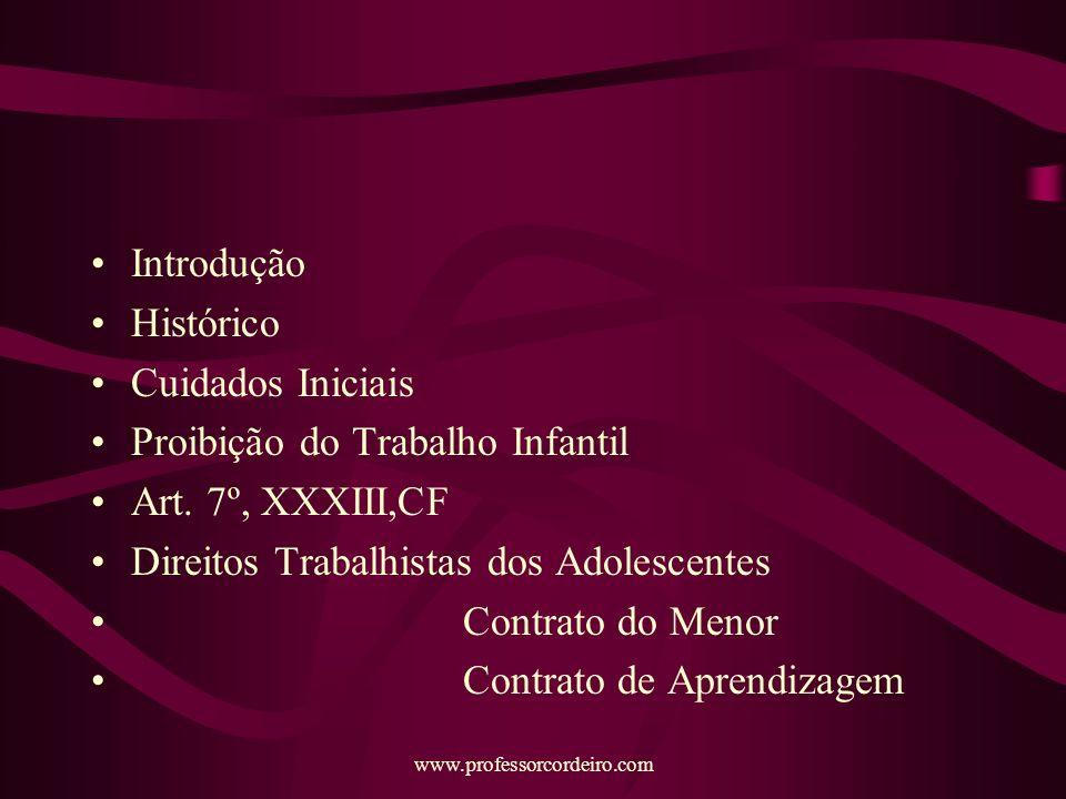 Proibição do Trabalho Infantil Art. 7º, XXXIII,CF