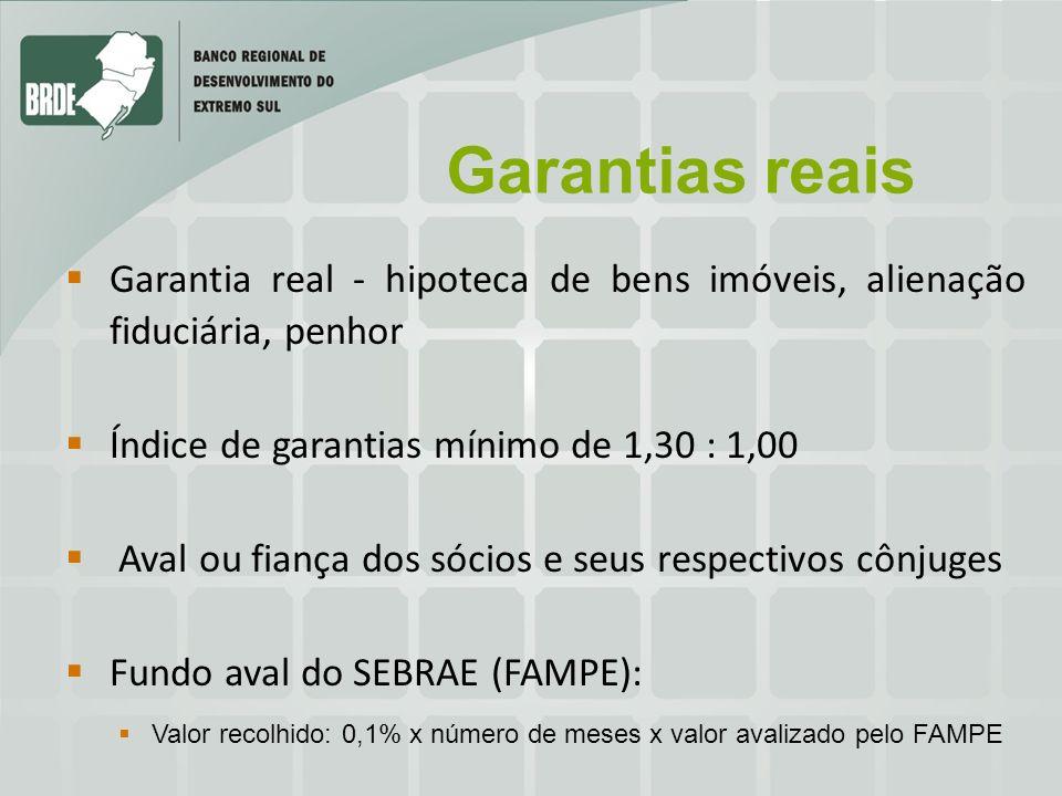 Garantias reais Garantia real - hipoteca de bens imóveis, alienação fiduciária, penhor. Índice de garantias mínimo de 1,30 : 1,00.