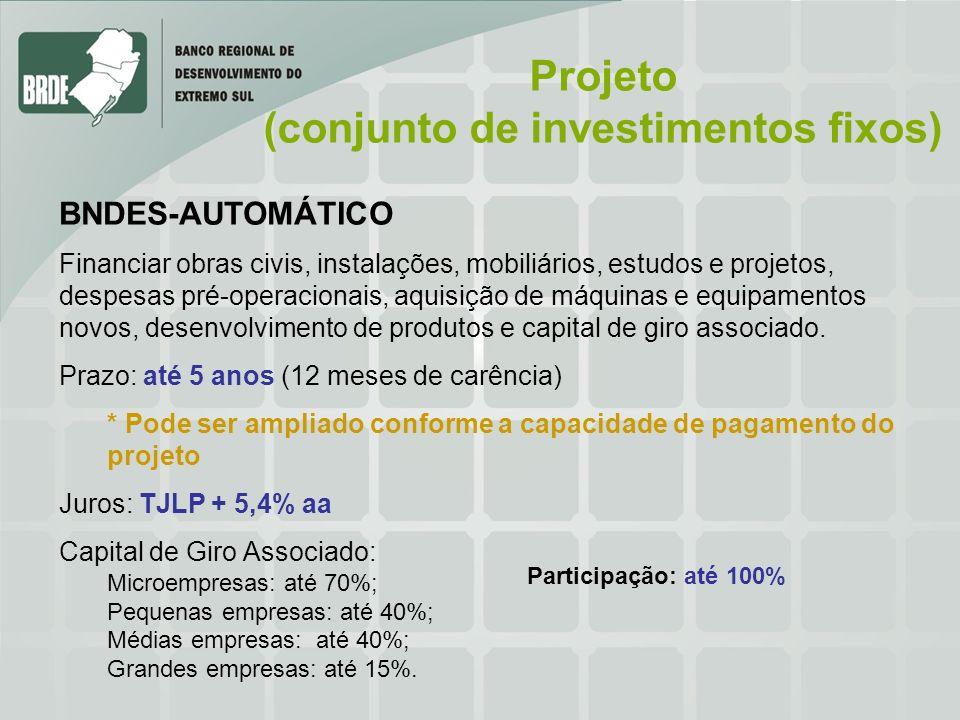 (conjunto de investimentos fixos)