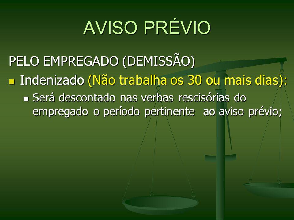 AVISO PRÉVIO PELO EMPREGADO (DEMISSÃO)