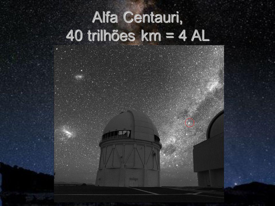 Alfa Centauri, 40 trilhões km = 4 AL