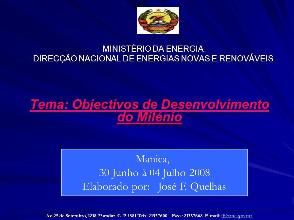 MINISTÉRIO DA ENERGIA DIRECÇÃO NACIONAL DE ENERGIAS NOVAS E RENOVÁVEIS