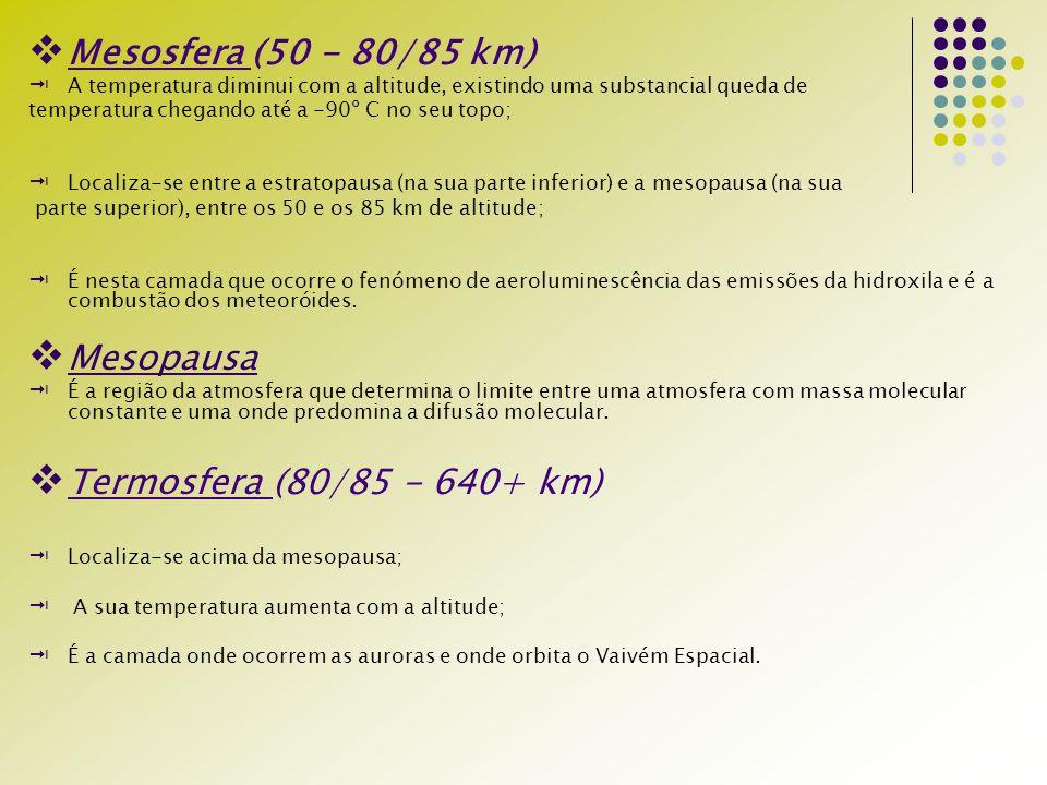 Mesosfera (50 - 80/85 km) Mesopausa Termosfera (80/85 - 640+ km)