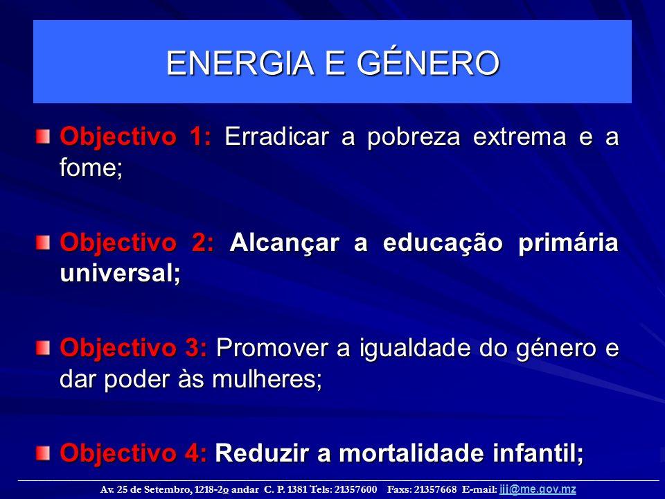 ENERGIA E GÉNERO Objectivo 1: Erradicar a pobreza extrema e a fome;