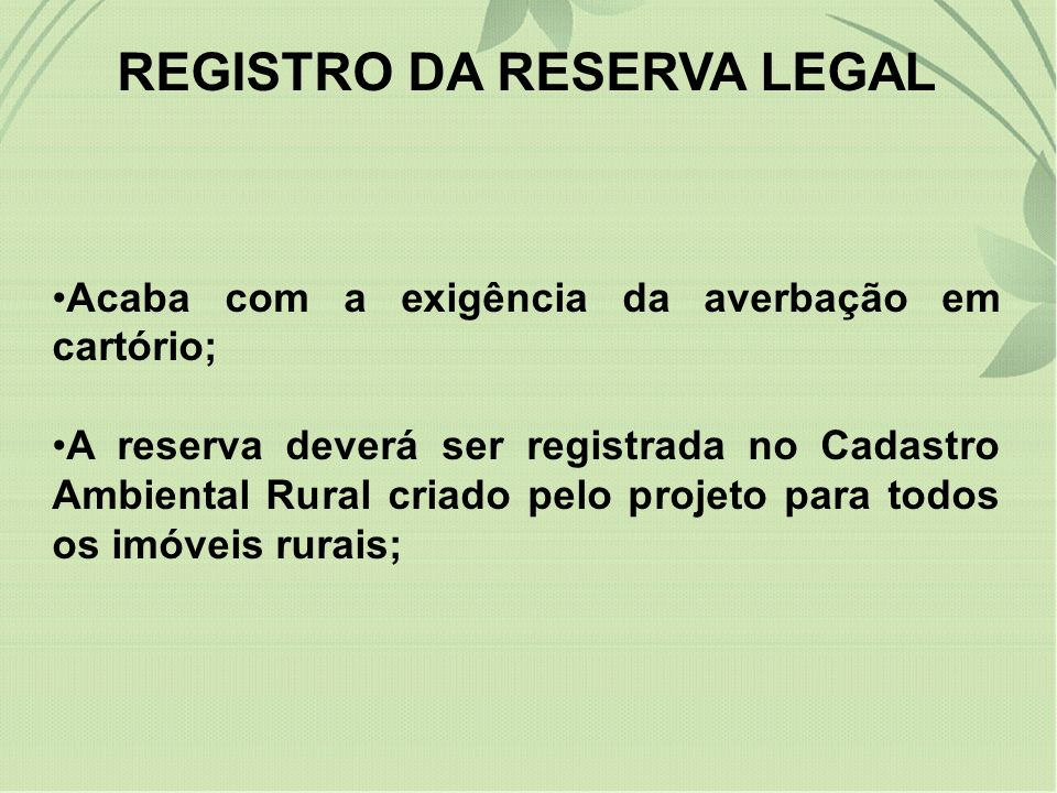 REGISTRO DA RESERVA LEGAL
