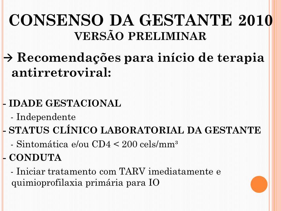 CONSENSO DA GESTANTE 2010 VERSÃO PRELIMINAR