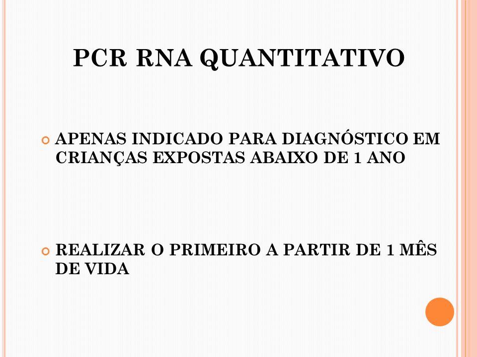 PCR RNA QUANTITATIVO APENAS INDICADO PARA DIAGNÓSTICO EM CRIANÇAS EXPOSTAS ABAIXO DE 1 ANO.