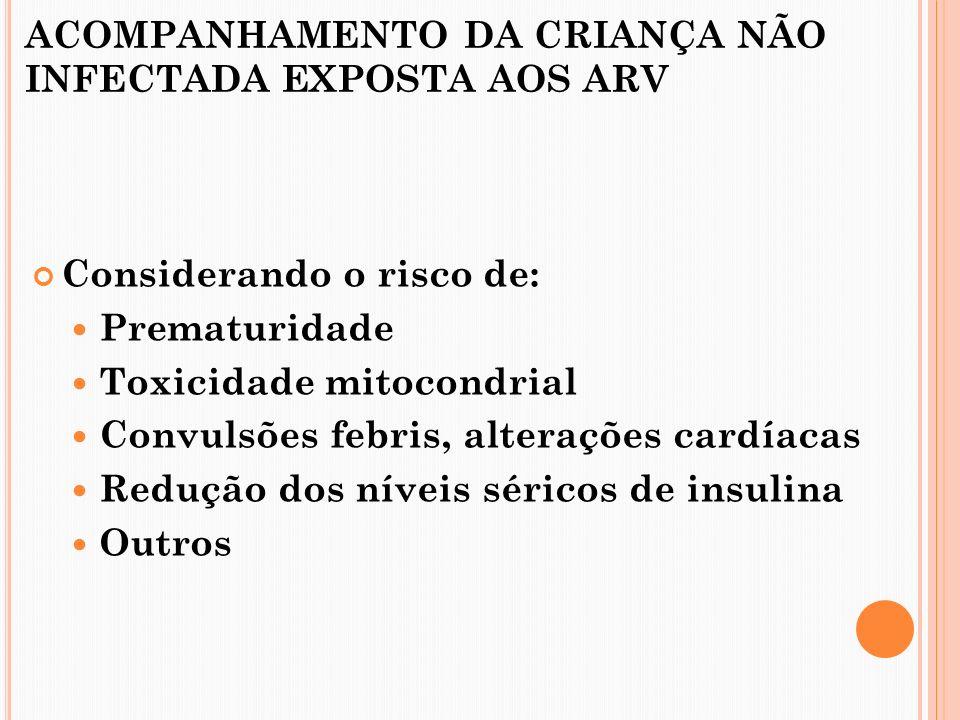 ACOMPANHAMENTO DA CRIANÇA NÃO INFECTADA EXPOSTA AOS ARV