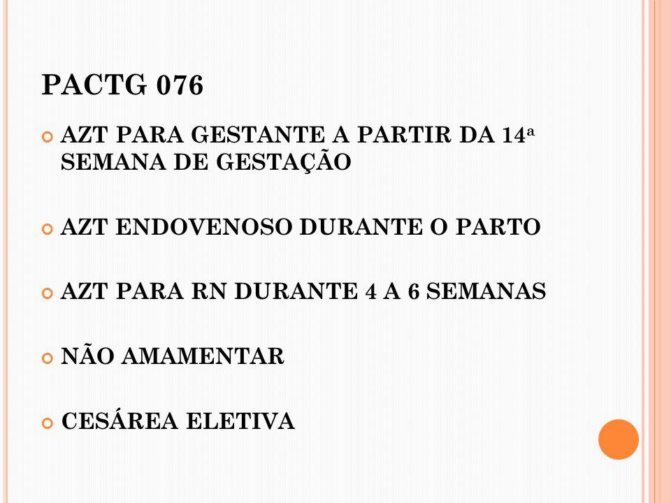 PACTG 076 AZT PARA GESTANTE A PARTIR DA 14a SEMANA DE GESTAÇÃO