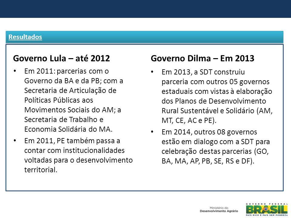 Governo Lula – até 2012 Governo Dilma – Em 2013