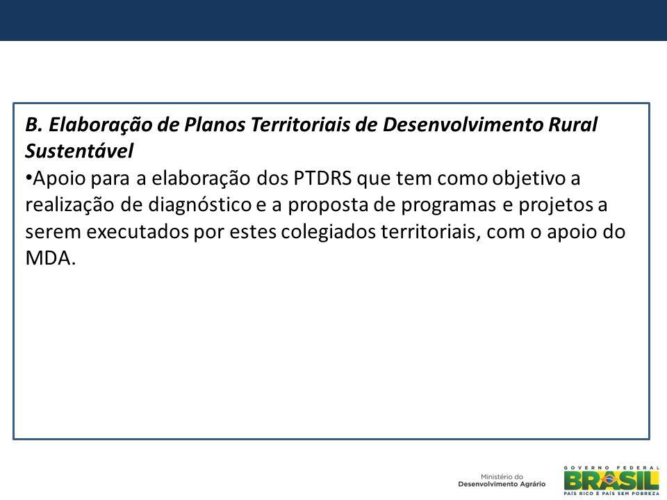 B. Elaboração de Planos Territoriais de Desenvolvimento Rural Sustentável