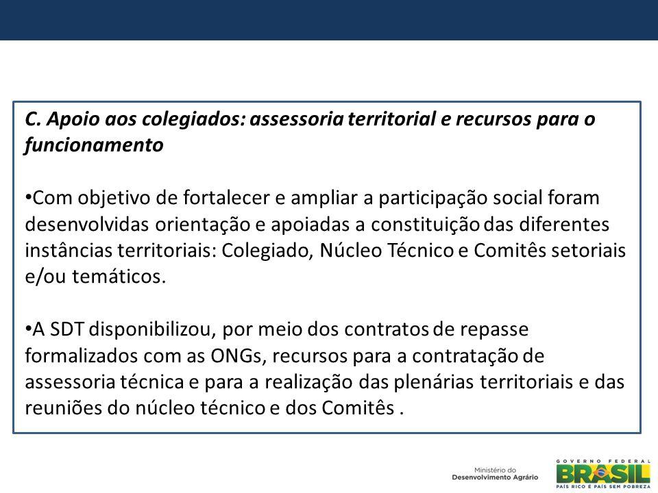 C. Apoio aos colegiados: assessoria territorial e recursos para o funcionamento