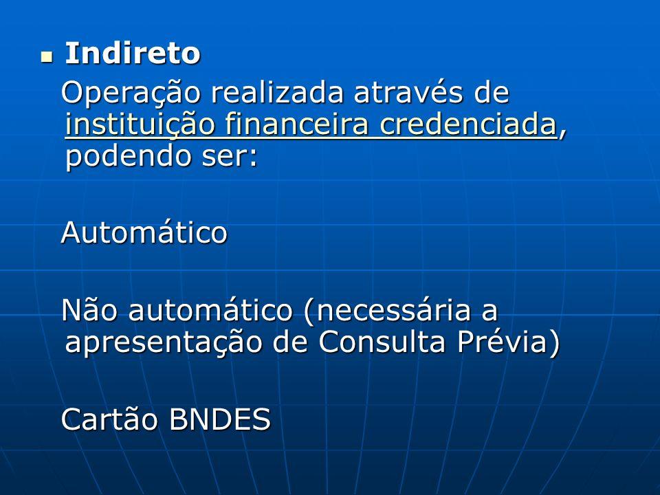 Indireto Operação realizada através de instituição financeira credenciada, podendo ser: Automático.