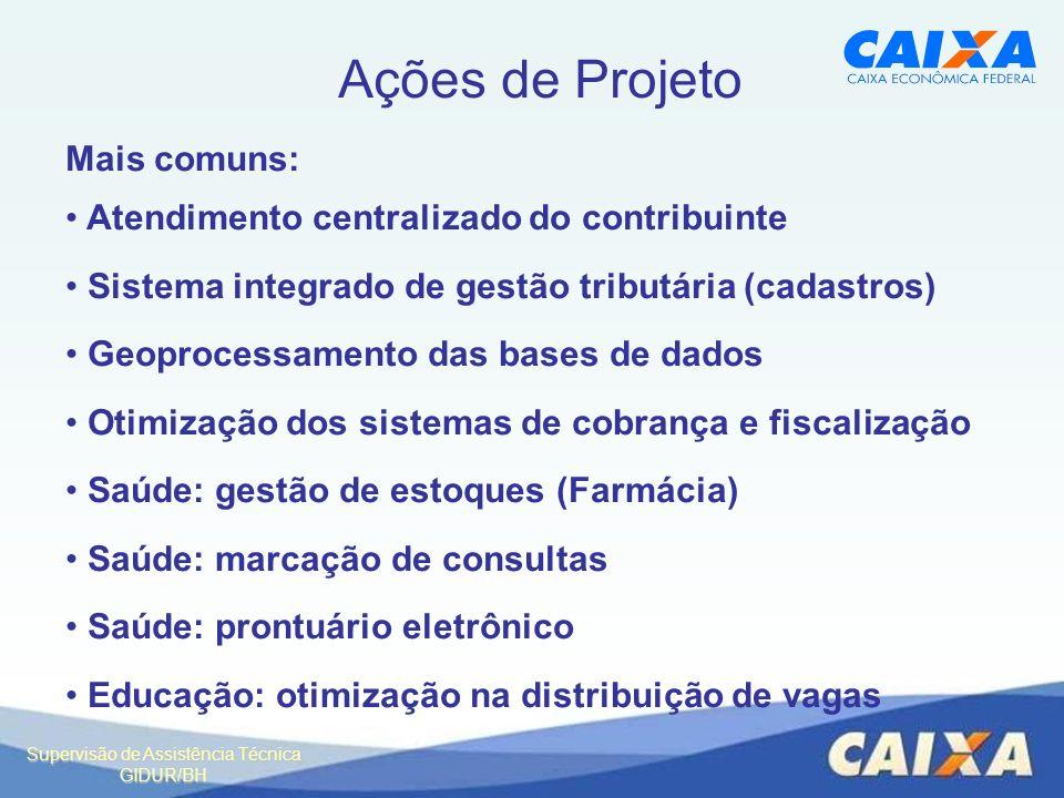Ações de Projeto Mais comuns: Atendimento centralizado do contribuinte