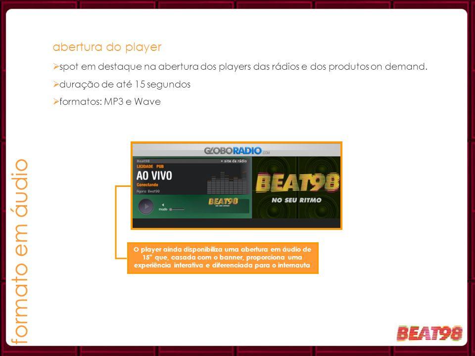 formato em áudio abertura do player