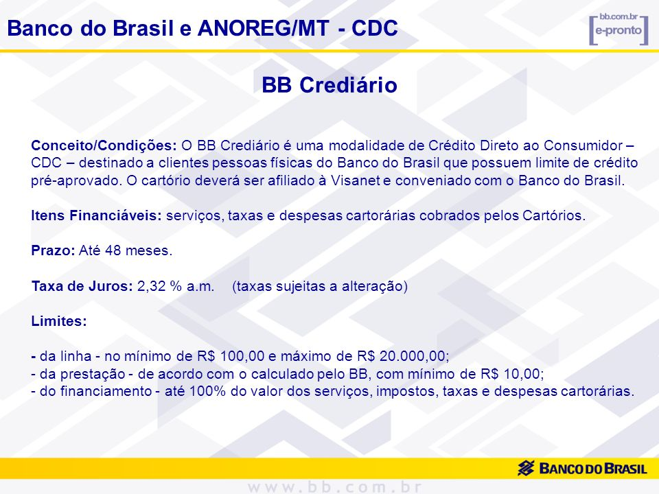 Banco do Brasil e ANOREG/MT - CDC