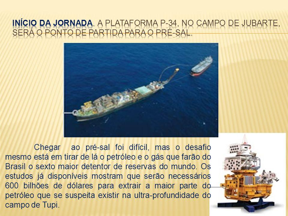 INÍCIO DA JORNADA. A Plataforma P-34, no Campo de Jubarte, será o ponto de partida para o Pré-Sal.