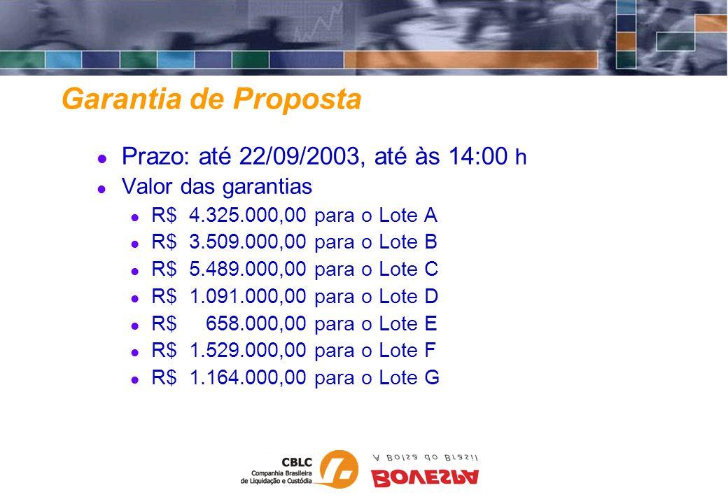 Garantia de Proposta Prazo: até 22/09/2003, até às 14:00 h