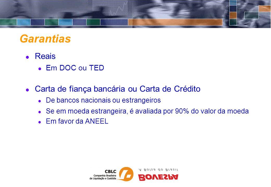 Garantias Reais Carta de fiança bancária ou Carta de Crédito