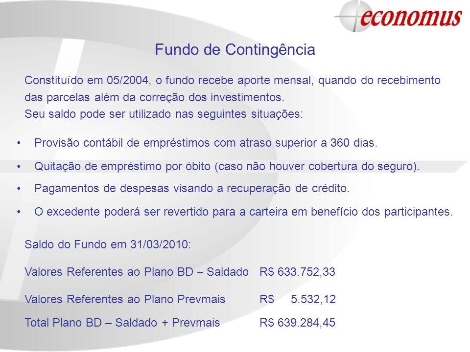 Fundo de Contingência Constituído em 05/2004, o fundo recebe aporte mensal, quando do recebimento. das parcelas além da correção dos investimentos.