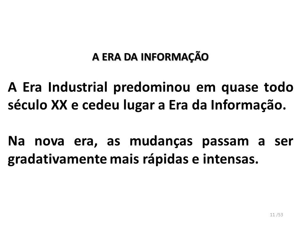 A ERA DA INFORMAÇÃO A Era Industrial predominou em quase todo século XX e cedeu lugar a Era da Informação.