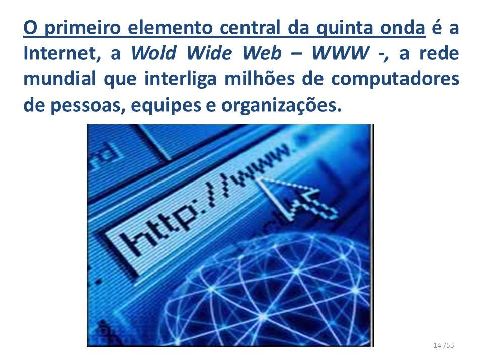 O primeiro elemento central da quinta onda é a Internet, a Wold Wide Web – WWW -, a rede mundial que interliga milhões de computadores de pessoas, equipes e organizações.