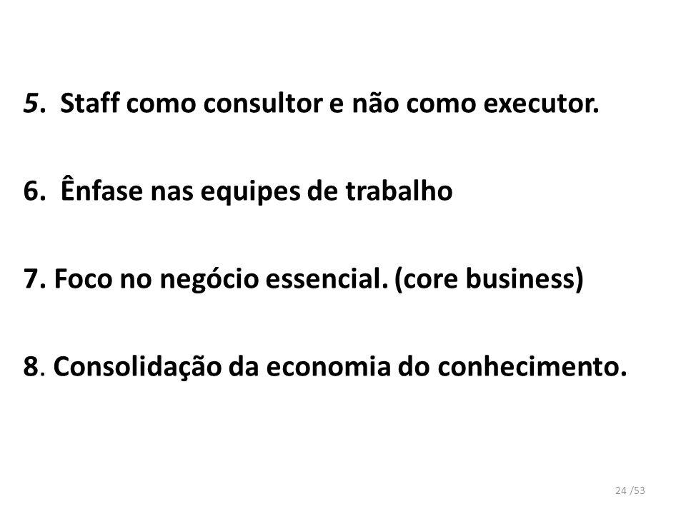 5. Staff como consultor e não como executor.