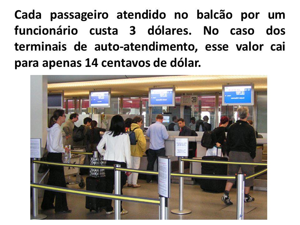 Cada passageiro atendido no balcão por um funcionário custa 3 dólares