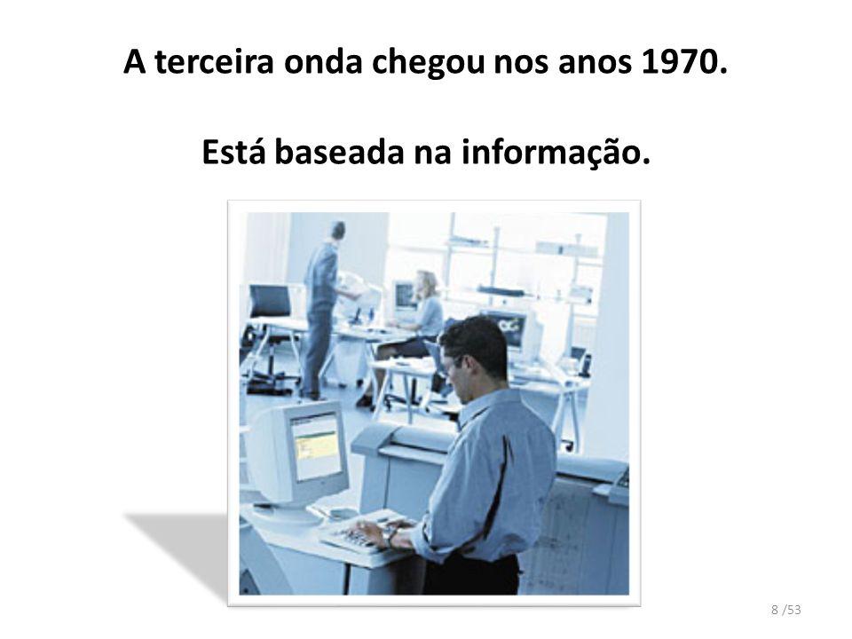 A terceira onda chegou nos anos 1970. Está baseada na informação.