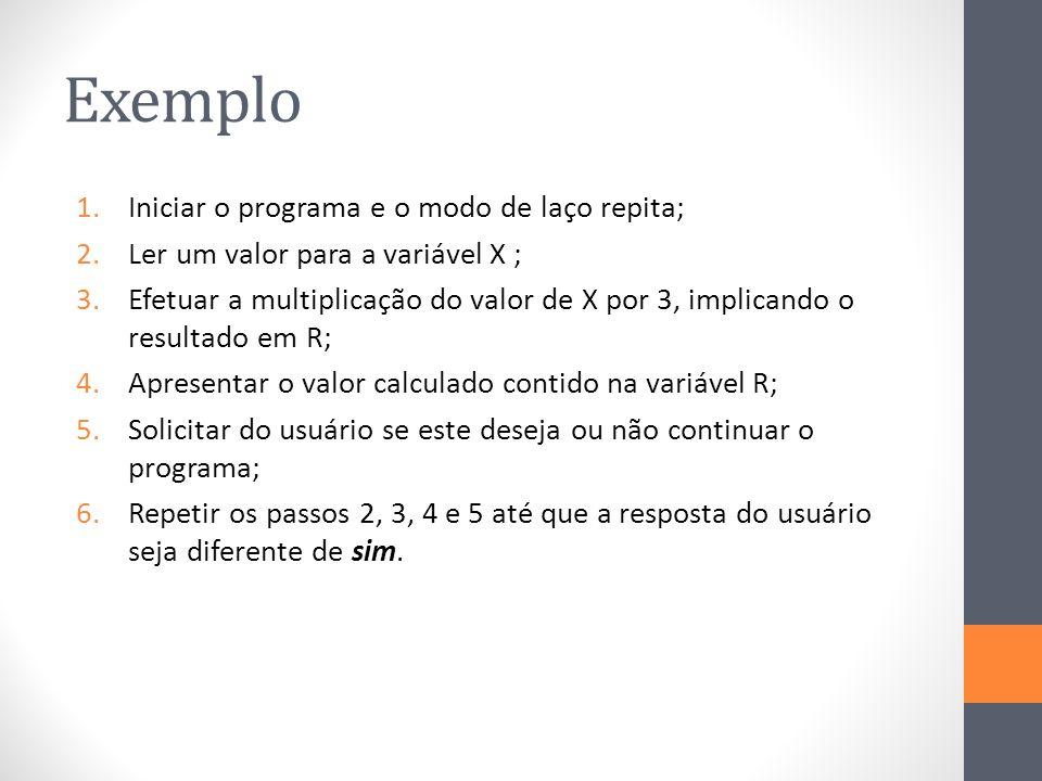 Exemplo Iniciar o programa e o modo de laço repita;