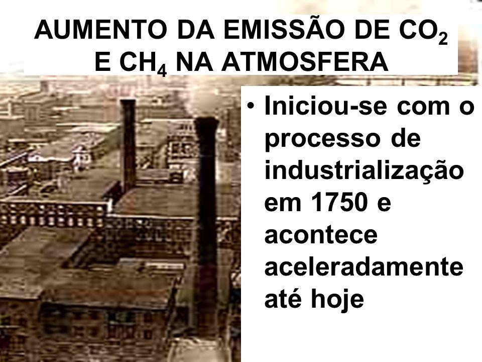 AUMENTO DA EMISSÃO DE CO2 E CH4 NA ATMOSFERA