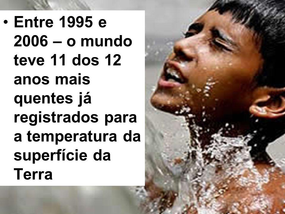 Entre 1995 e 2006 – o mundo teve 11 dos 12 anos mais quentes já registrados para a temperatura da superfície da Terra