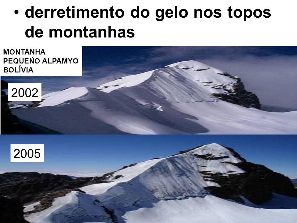 derretimento do gelo nos topos de montanhas