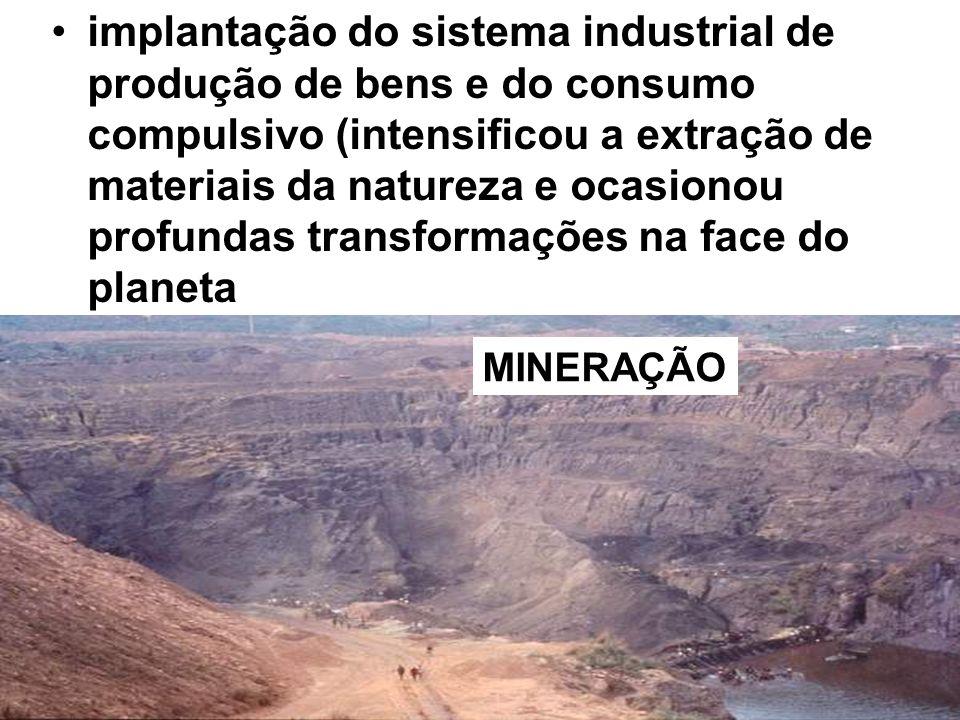 implantação do sistema industrial de produção de bens e do consumo compulsivo (intensificou a extração de materiais da natureza e ocasionou profundas transformações na face do planeta