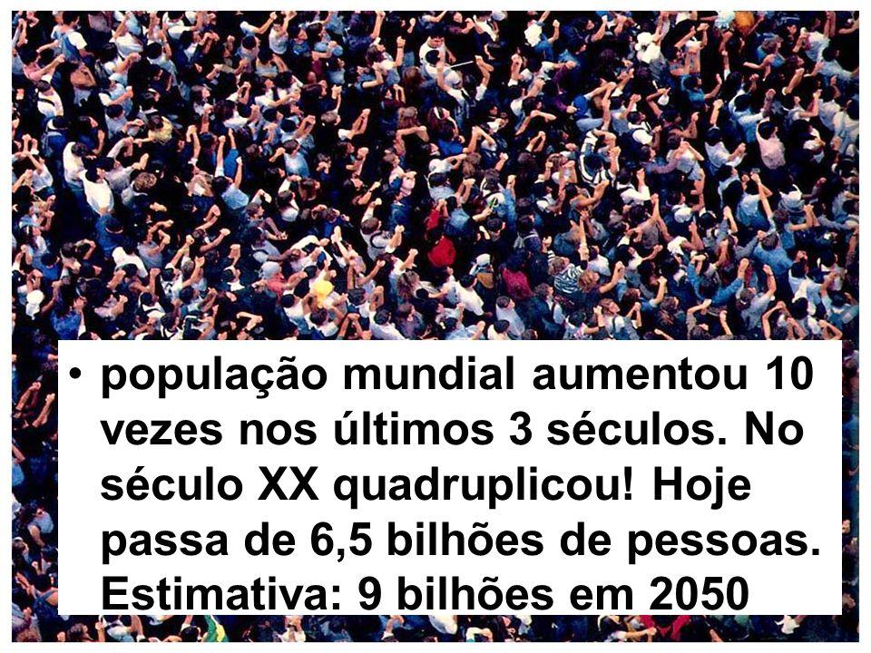 população mundial aumentou 10 vezes nos últimos 3 séculos