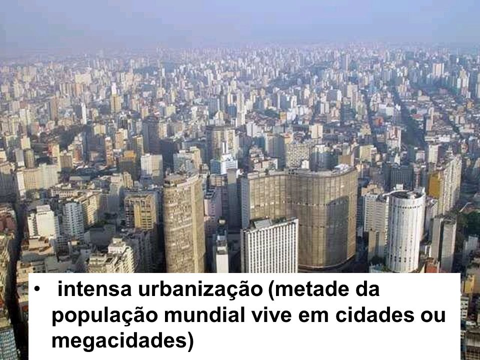 intensa urbanização (metade da população mundial vive em cidades ou megacidades)