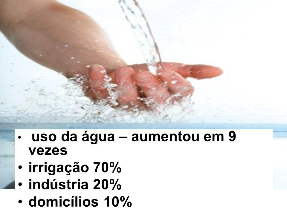irrigação 70% indústria 20% domicílios 10%