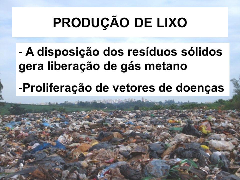 PRODUÇÃO DE LIXO A disposição dos resíduos sólidos gera liberação de gás metano.