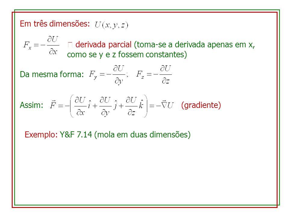 Em três dimensões:  derivada parcial (toma-se a derivada apenas em x, como se y e z fossem constantes)