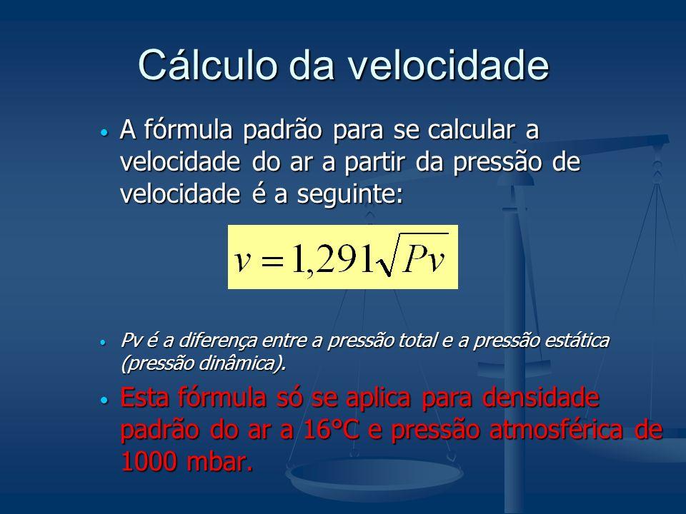 Cálculo da velocidade A fórmula padrão para se calcular a velocidade do ar a partir da pressão de velocidade é a seguinte: