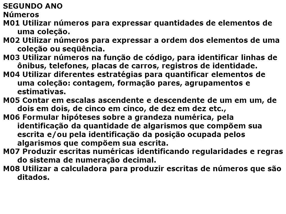 SEGUNDO ANO Números. M01 Utilizar números para expressar quantidades de elementos de uma coleção.