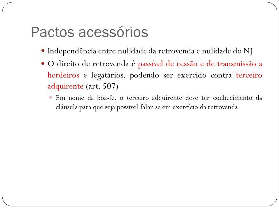 Pactos acessórios Independência entre nulidade da retrovenda e nulidade do NJ.