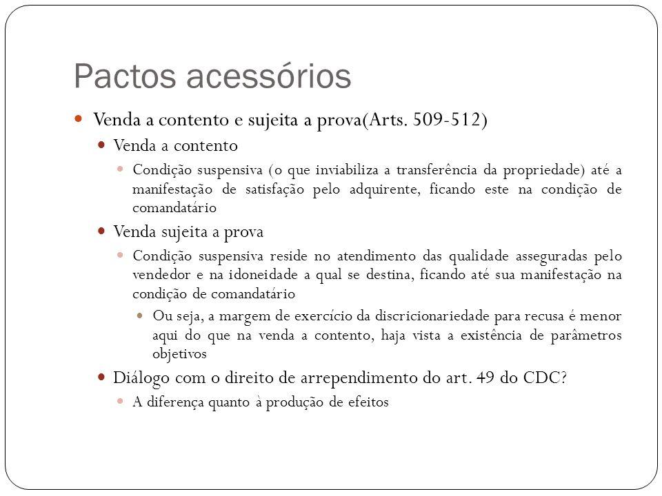 Pactos acessórios Venda a contento e sujeita a prova(Arts. 509-512)